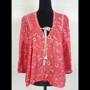 Free People Red Floral Boho Long Sleeve Blouse Top